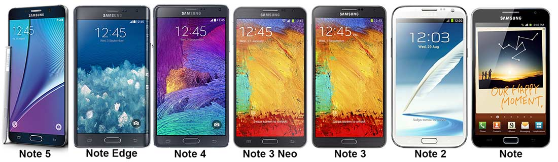 Galaxy Notes Side By Side - Note 5, Edge, 4, 3 Neo, 3, 2 & 1