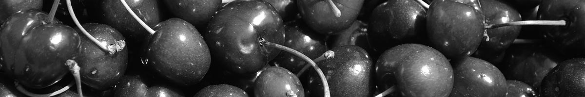 Black And White Image Of Cherries Close Up